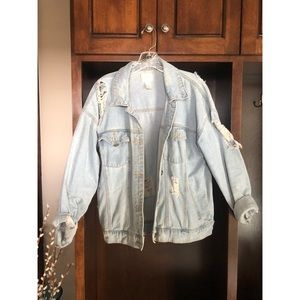 Ripped Light Denim Jacket
